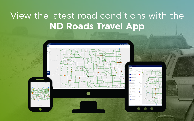 View the latest road conditions with the ND Roads Travel App