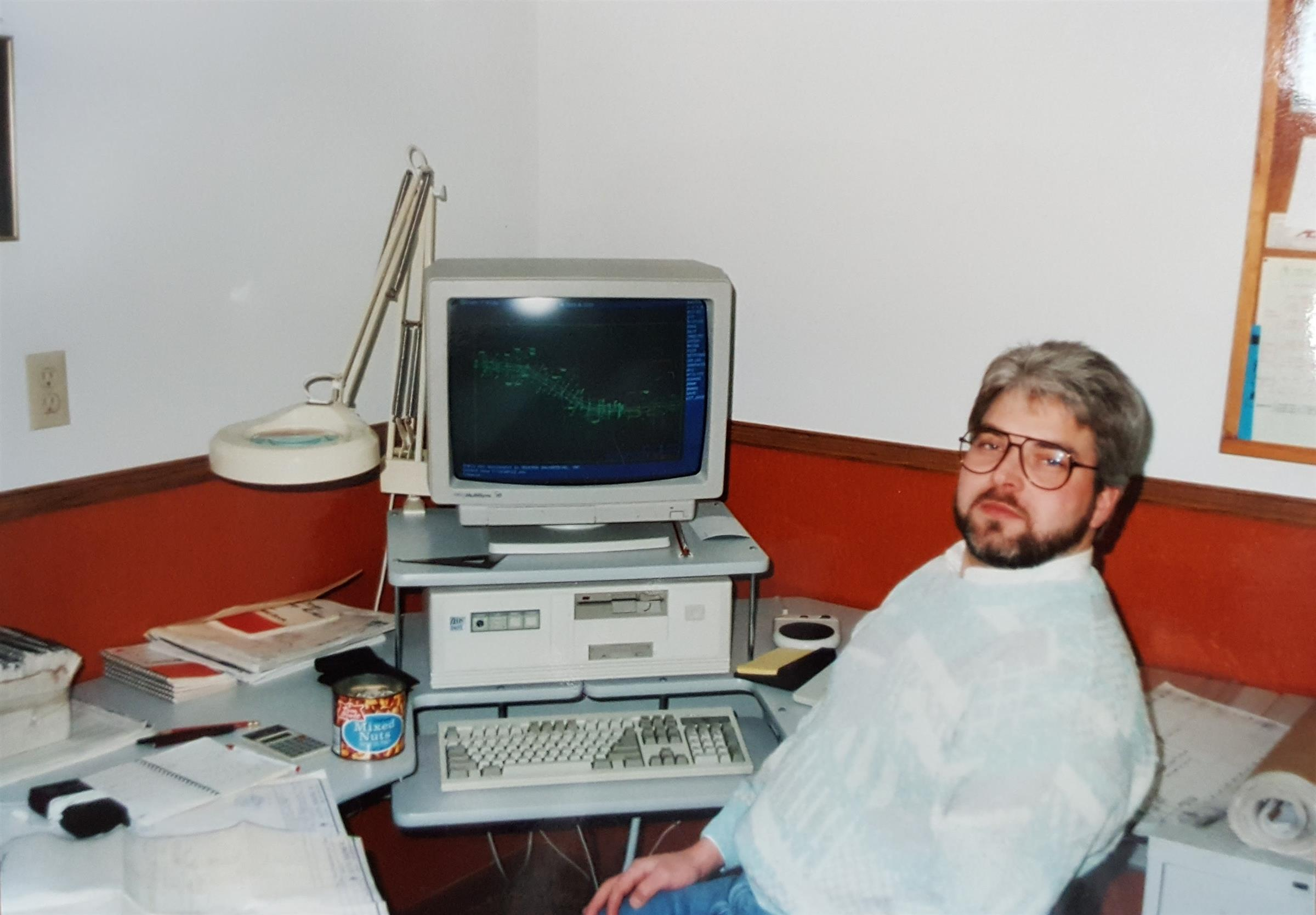 Chuck working on HEI's first CAD computer in 1993
