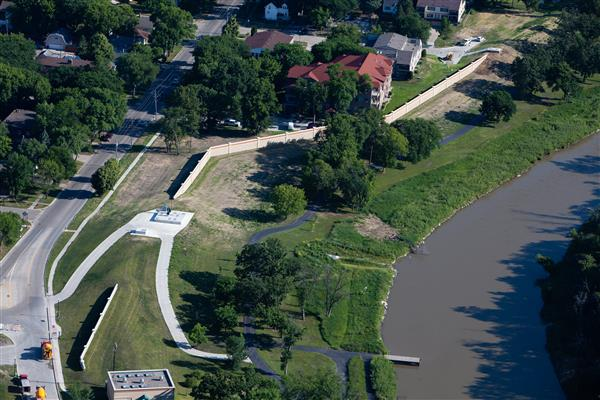 4th Street South Fargo Aerial View of Flood Protection
