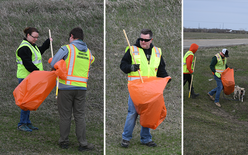 Team hard at work cleaning up the ditches.