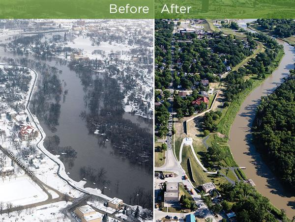Bird's-eye view of the project site during the flood and after the project completion.