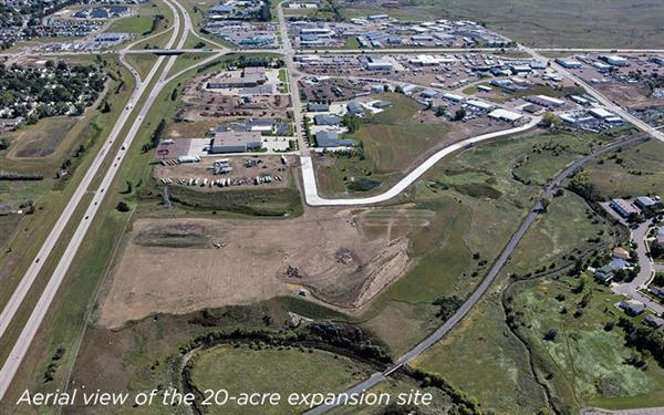 Aerial view of the RDO Equipment expansion site.