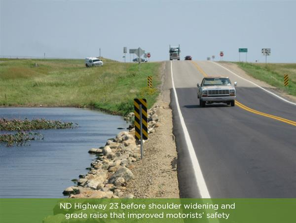 ND Highway 23 before rehabilitation showing the shoulder safety concerns..