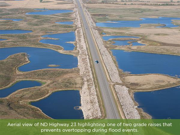 Aerial view of rehabilitated 27-mile section of ND Highway 23.
