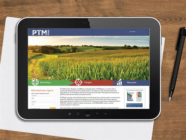 The Prioritize, Measure, and Target Application (PTMApp) on a tablet