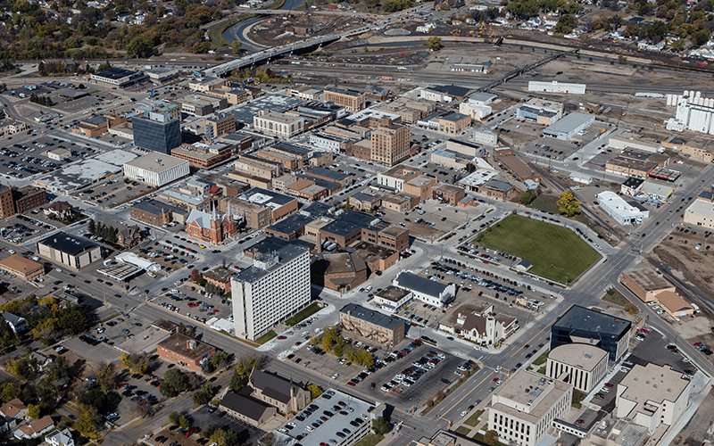 Aerial view of downtown Minot after the downtown project was completed in 2017.