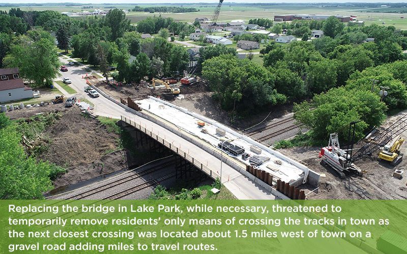 Aerial view of bridge during construction in the summer of 2018.