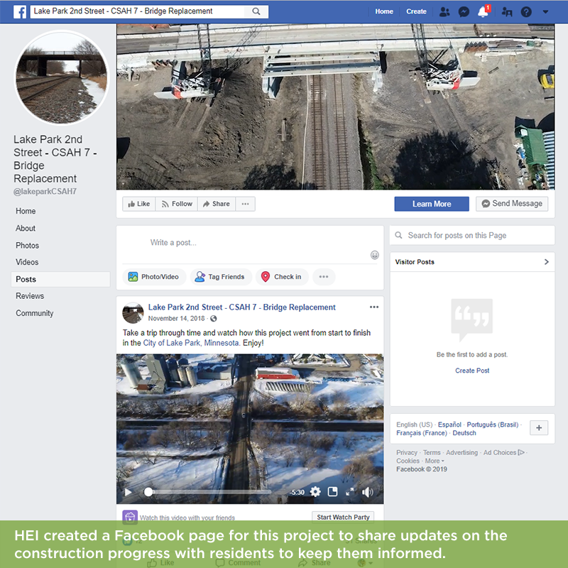 A project page was created on Facebook to inform the public during construction.
