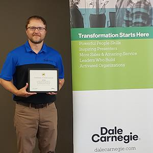 Thumbnail of Joe Reiter with Dale Carnegie certificate.